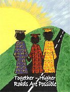 African Cloth Framed Prints - Together  Higher Roads are Possible Framed Print by Karen-Lee