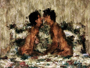 Nude Couple Prints - Together Print by Kurt Van Wagner