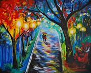 Rainy Street Painting Originals - Together by Leslie Allen