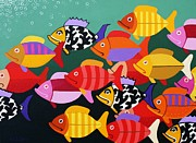Exotic Fish Paintings - Together we can achieve anything by Stephen Diggin