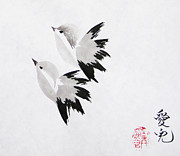 Oiyee Prints - Together Well Fly Side By Side Print by Oiyee  At Oystudio