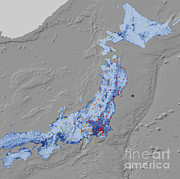 Shaking Prints - Tohoku Earthquake Shaking Intensity Print by National Aeronautics and Space Administration