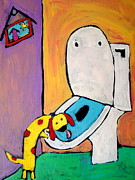 Tongue Art Painting Originals - Toilet Dog by Carla MacDiarmid