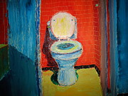 Vintage Potty Framed Prints - Toilet Painting Framed Print by John Geannaris