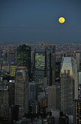 In-city Posters - Tokyo And Full Moon Poster by Vladimir Zakharov