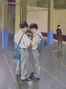 Schoolboys Paintings - Tokyo Boys Mobile by Michael Coxon