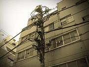 Streets Metal Prints - Tokyo Electric Pole Metal Print by Irina  March