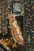 No Major Framed Prints - Tokyo Freeway And Skyscrapers At Night Framed Print by Bryan Mullennix