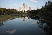 Tall Buildings Prints - Tokyo Highrises with Garden Pond Print by Carol Groenen