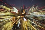 Multiple Exposures Prints - Tokyo Lights At Night A Zoom Effect Print by Bryan Mullennix