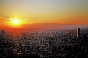 Fuji Framed Prints - Tokyo Sunset Framed Print by Hilary McHone