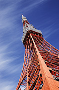 Telecommunication Posters - Tokyo Tower Against Blue Sky Poster by Jeremy Woodhouse