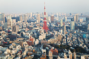 Communications Tower Prints - Tokyo Tower And Skyline, Tokyo, Japan Print by Peter Adams
