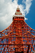 Observer Photo Prints - Tokyo tower face cloudy sky Print by Ulrich Schade