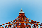 Observer Photo Metal Prints - Tokyo tower faces blue sky Metal Print by Ulrich Schade