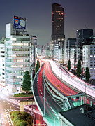 Illuminated Tapestries Textiles - Tokyo, Urban Expressway At Night by Stefan Frid