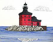 Harbor Drawings Originals - Toledo Harbor Lighthouse by Frederic Kohli