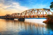 Bridge Prints Prints - Toll Bridge Sunrise Print by James Marvin Phelps