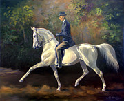 White Horse Paintings - Tom Bass and Columbus by Jeanne Newton Schoborg