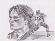 Tom Brady Prints - Tom Brady Print by Chris  DelVecchio