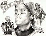 Quarterback Drawings - Tom Brady by Kathleen Kelly Thompson