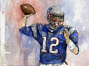 League Mixed Media Metal Prints - Tom Brady Metal Print by Michael  Pattison