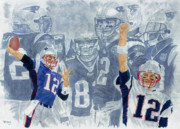 Patriots Painting Posters - Tom Brady Quarterback Study 1 Poster by George  Brooks