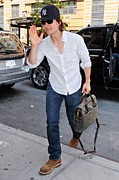 Blue Shirt Posters - Tom Cruise Carrying A Filson Bag Poster by Everett