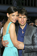Katie Holmes Framed Prints - Tom Cruise, Katie Holmes Wearing A Dior Framed Print by Everett