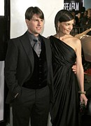 Katie Holmes Metal Prints - Tom Cruise, Katie Holmes Wearing Metal Print by Everett