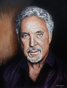 Portraits Greeting Cards Posters - Tom Jones The Voice Poster by Andrew Read