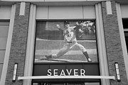 Ball Parks Framed Prints - TOM SEAVER 41 in BLACK AND WHITE Framed Print by Rob Hans