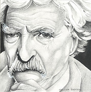Tom Selleck Framed Prints - Tom Selleck as Mark Twain Framed Print by Martha Booysen