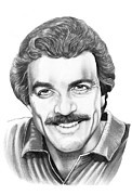 Famous People Drawings Acrylic Prints - Tom Selleck Acrylic Print by Murphy Elliott