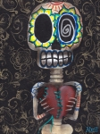 Skeleton Painting Prints - Toma mi Corazon Print by  Abril Andrade Griffith