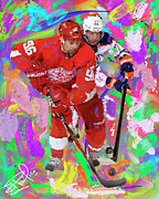 Hockey Painting Prints - Tomas Holstrum Print by Donald Pavlica