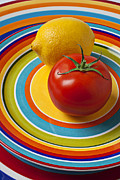 Platter Framed Prints - Tomato and lemon  Framed Print by Garry Gay