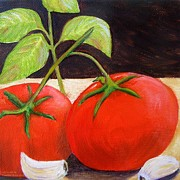 Italian Kitchen Posters - Tomato Basil and Garlic Poster by Pauline Ross