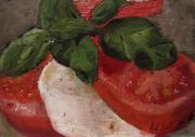 Brunch Painting Prints - Tomato Basil and Mozarella Print by Barbara Andolsek