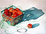 Tomatos Painting Metal Prints - Tomato Basket Metal Print by Gail Zavala