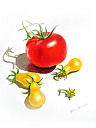 Vegetable Garden Posters - Tomato Dance Poster by Irina Sztukowski