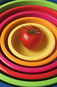 Bright Color Posters - Tomato in mixing bowls Poster by Garry Gay