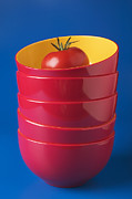Blue Background Framed Prints - Tomato In Stacked Bowls Framed Print by Garry Gay
