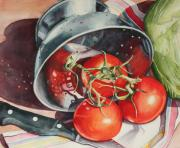 Vegetables Paintings - Tomato Reflections by Marsha Chandler