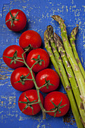 Wooden Table Framed Prints - Tomatoes and asparagus  Framed Print by Garry Gay