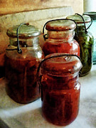 Savad Digital Art - Tomatoes and String Beans in Canning Jars by Susan Savad