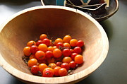 Wooden Bowl Prints - Tomatoes in a Wooden Bowl Print by Samantha Brody