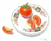 Still Life Drawings Metal Prints - Tomatoes Metal Print by Loraine LeBlanc