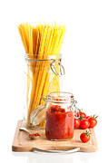 Spaghetti Posters - Tomatoes Sauce and  Spaghetti Pasta  Poster by Christopher and Amanda Elwell