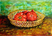 Salad Painting Framed Prints - Tomatoes Framed Print by Zaira Dzhaubaeva